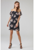 Print y22 chiffon short sleeve mini dress