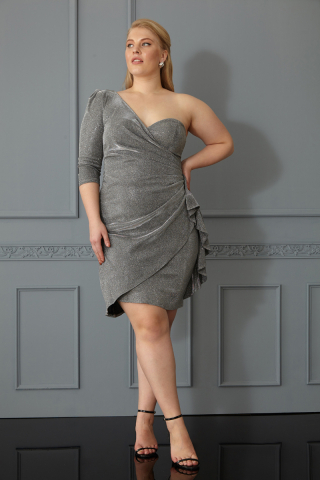Silver plus size velvet 13 single sleeve mini dress
