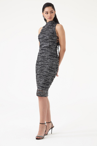 Mixed sequined sleeveless midi dress