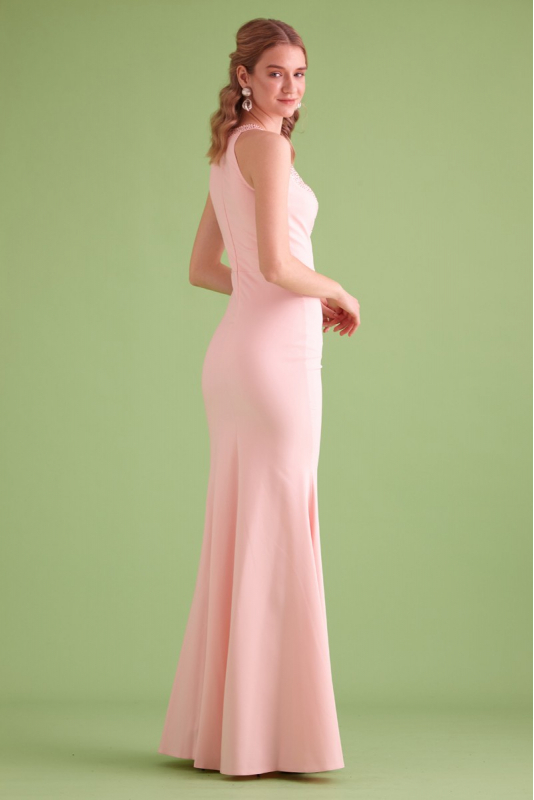 Powder crepe sleeveless maxi dress