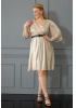 Gold plus size velvet 13 3/4 sleeve midi dress