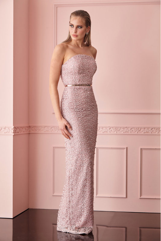 Powder lace strapless maxi dress