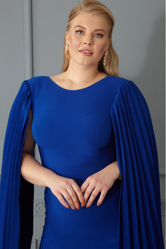 Sax plus size crepe long sleeve maxi dress