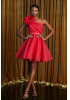 Red tulle single sleeve mini dress