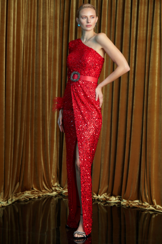 Red sequined single sleeve maxi dress