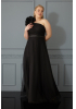 Black plus size tulle sleeveless maxi dress