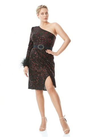 Red plus size sequined single sleeve mini dress