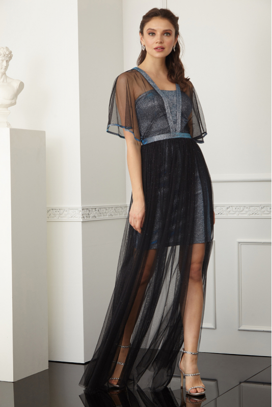 Sax sequined short sleeve maxi dress