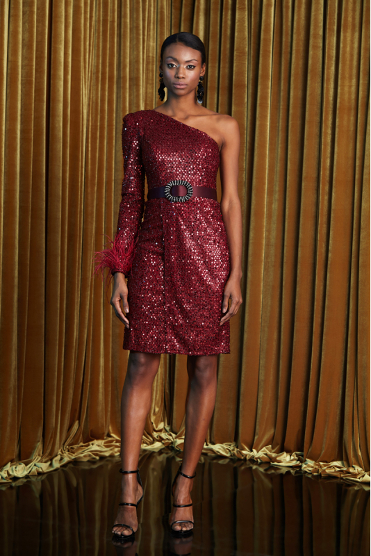 Claret red sequined single sleeve mini dress