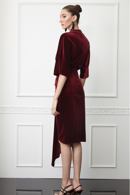 Claret red velvet short sleeve midi dress