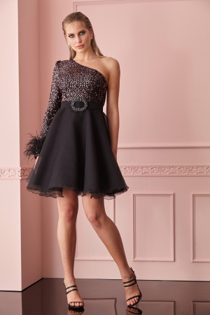 Powder sequined single sleeve mini dress