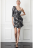 Print y61 sequined crepe single sleeve mini dress