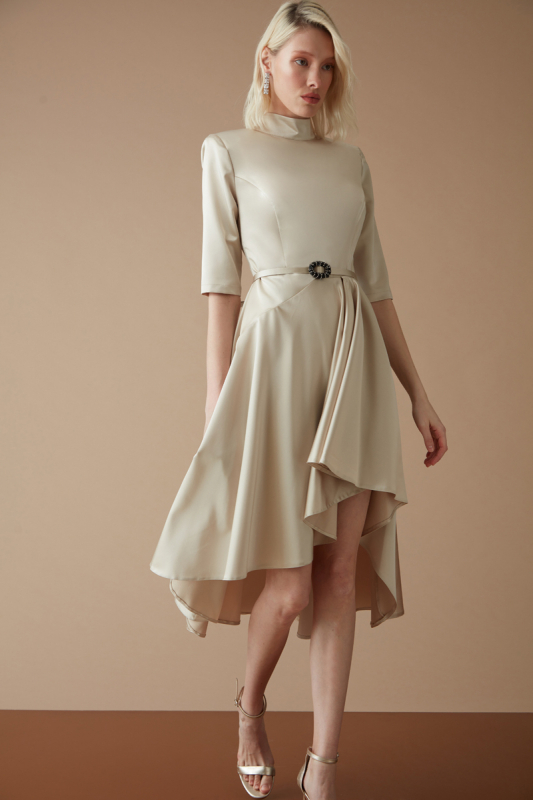 Beige satin long sleeve mini dress