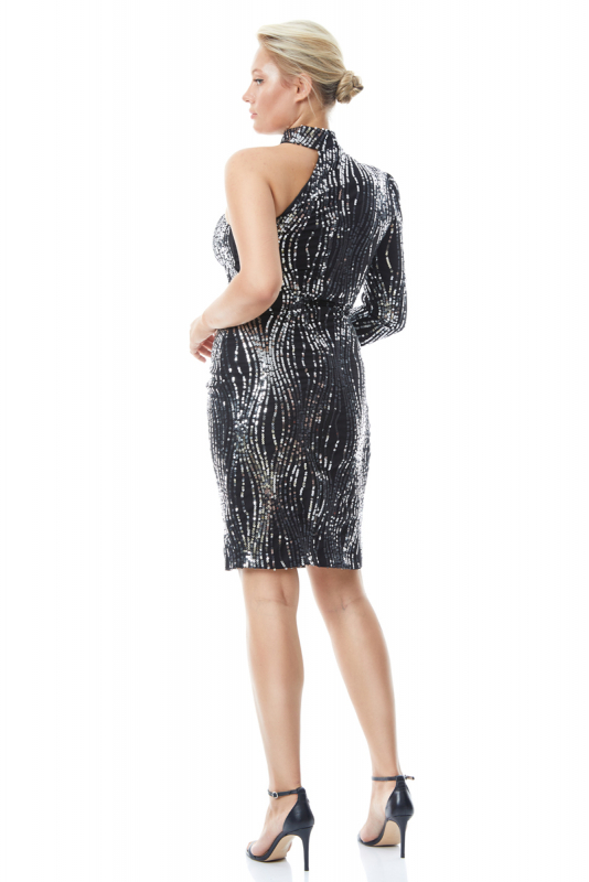 Print y61 plus size sequined single sleeve mini dress