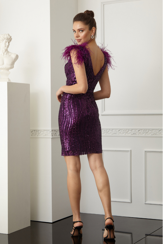 Purple sequined sleeveless mini dress