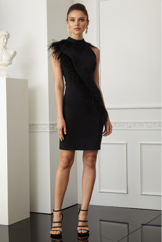 Black crepe sleeveless mini dress