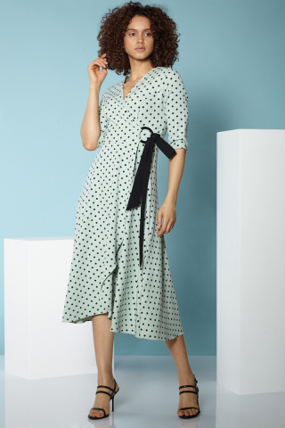 Print f79 crepe 3/4 sleeve midi dress