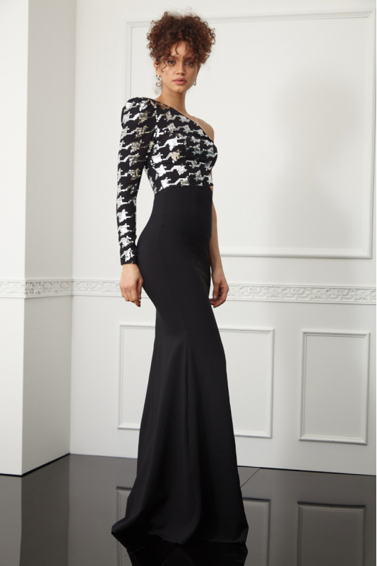 Printy63 sequined crepe single sleeve maxi dress