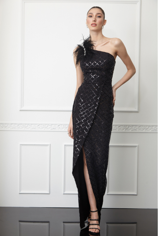 Printy59 sequined crepe single sleeve maxi dress