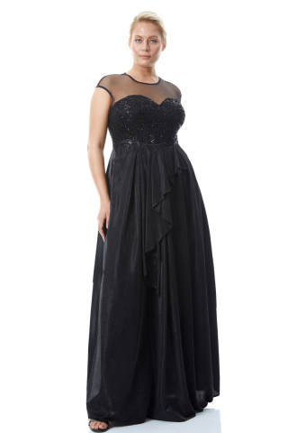 Black plus size velvet 13 sleeveless maxi dress