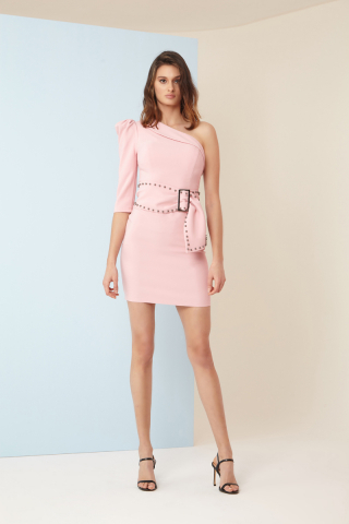 Powder crepe single sleeve mini dress