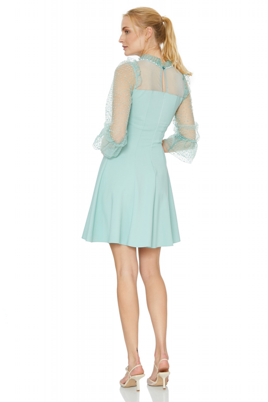 Mint green crepe long sleeve mini dress