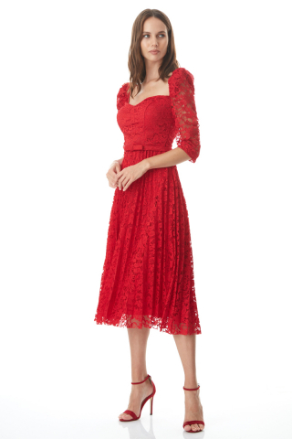 Red lace 3/4 sleeve midi dress
