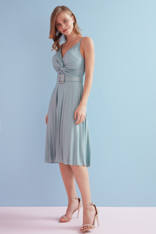 Mint green velvet 13 sleeveless midi dress