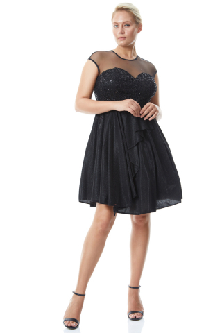 Black plus size velvet 13 sleeveless mini dress