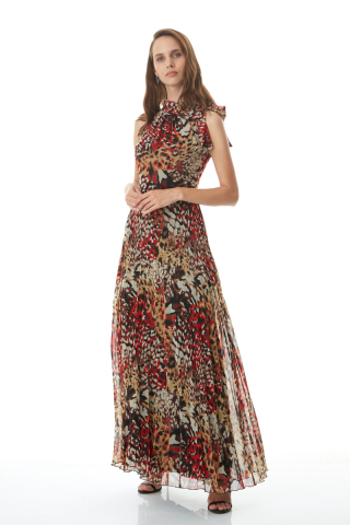 Mixed empirme sleeveless maxi dress