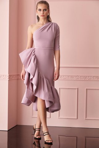 Lilac crepe single sleeve midi dress