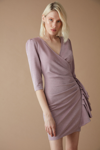 Lilac velvet 13 short sleeve mini dress