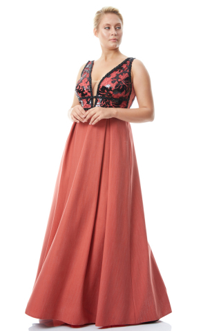 Orange plus size knitted sleeveless maxi dress