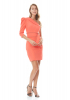 Orange crepe single sleeve mini dress