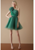 Green tulle single sleeve mini dress