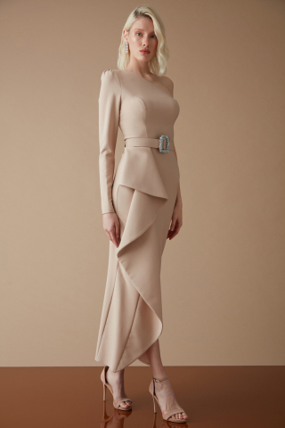 Beige crepe single sleeve maxi dress