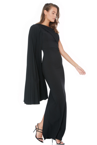 Black crepe single sleeve maxi dress