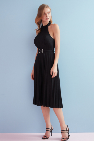 Black velvet 13 sleeveless midi dress