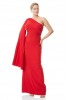 Red plus size crepe single sleeve maxi dress
