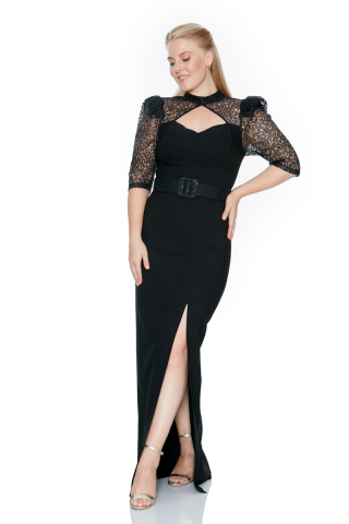 Black plus size crepe short sleeve maxi dress