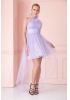 Lilac tulle sleeveless mini dress