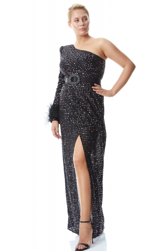 Powder plus size sequined single sleeve maxi dress