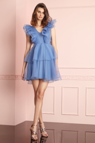 Blue tulle sleeveless mini dress