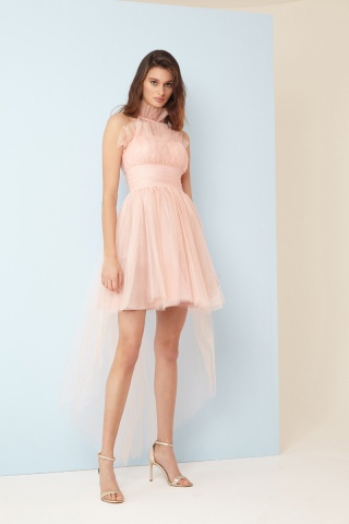 Powder tulle sleeveless mini dress