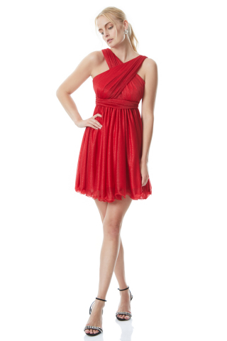 Red tulle sleeveless midi dress
