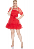 Red plus size tulle long sleeve mini dress
