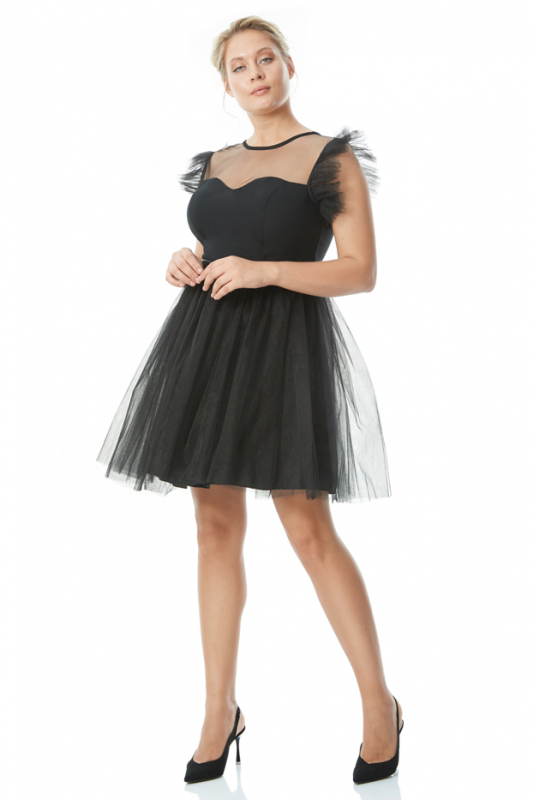 Black plus size tulle sleeveless mini dress