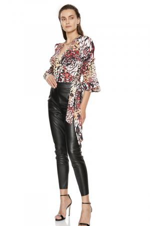 Print f73 crepe long sleeve mini blouse