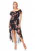 Print d65 plus size chiffon sleeveless maxi dress