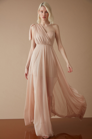 Gold tulle single sleeve maxi dress